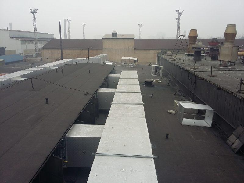 ipari csarnok általános szellőztetés légtechnika üzem légcsatorna elszívás légtisztítás foxer